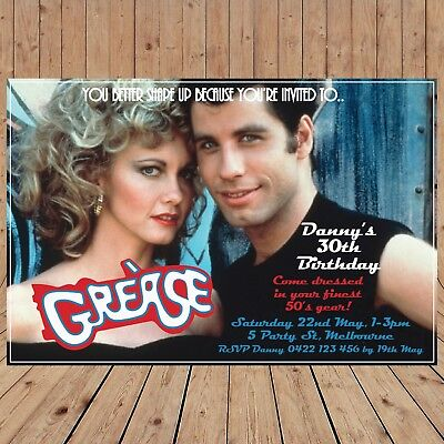 50 Themed Party (Personalised GREASE 50's themed party Invitations Invites DIGITAL -YOU PRINT-)