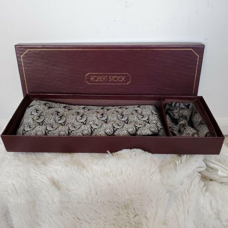 Vintage Mens Silk Paisley Cummerbund & Bowtie Tuxedo Formal Wedding Set