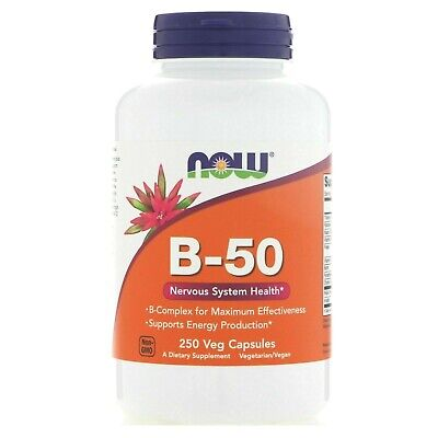 Now Foods B-50 Vitamin B Complex, 250 Veg Caps Energy, Nervous System Health - Folic Acid B-50 250 Capsules