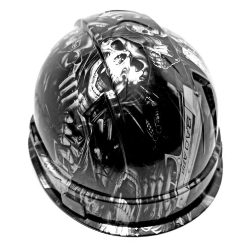 Hard Hat custom hydro dipped ,GRIM REAPER SHOOTER STEEL GREY OSHA APPROVED 3