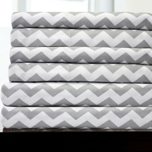 6 Piece Chevron Bedroom Sheet Set 1500 Thread Count Egyptian
