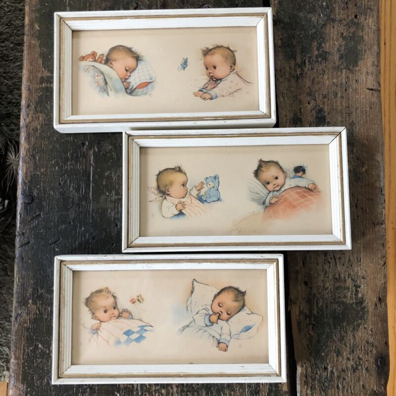 Set of Three Framed Vintage Baby Nursery Prints