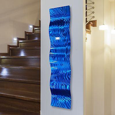 Modern Blue Hand-Painted Abstract Metal Wall Art Wave Sculpture Accent Decor