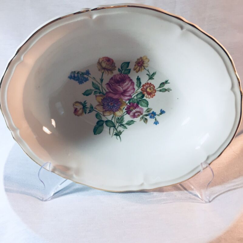 """Edwin Knowles Oval Vegetable Bowl White Flowers Gold Trim 9"""" X 8"""" USA"""