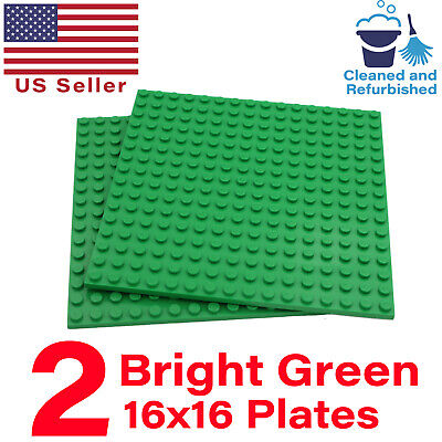 "Lot of 2 GENUINE LEGO Green Color 16x16 Stud Base Plates Pack 5""x5"" 16x16 Studs"