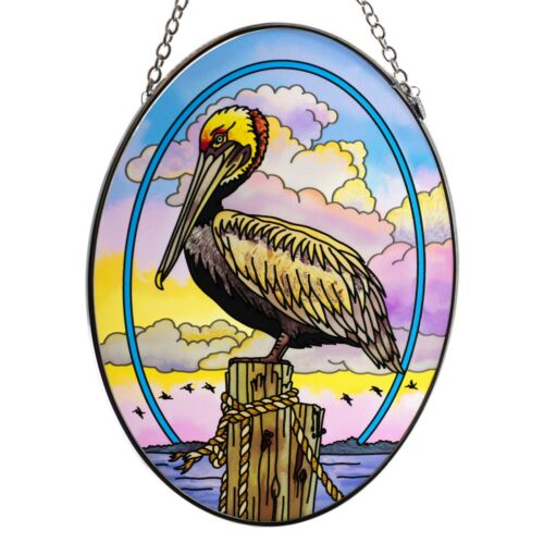 "Pelican Suncatcher Hand Painted Glass By AMIA Studios 7"" x 5"""