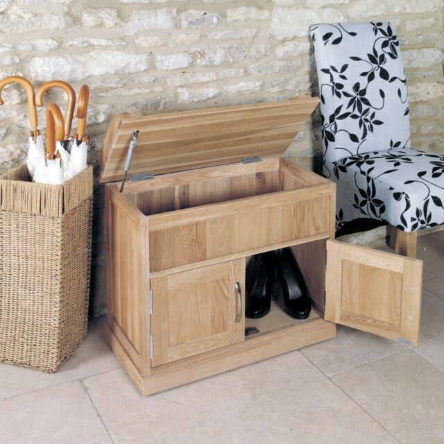 Mobel solid oak hallway furniture shoe accessories storage seating bench