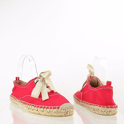 Women's Kate Spade Lina Shoes Red Canvas Lace Up Espadrille Flats Size 9 M NEW!