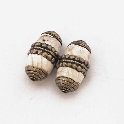 White Conch Shell 2 Beads Tibetan Nepalese Handmade Tibet Nepal UB2566