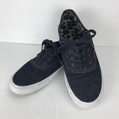 Levi's Sz 8.5 Blue Denim Canvas Casual Sneaker Blue Laces Leopard Tennis Shoe - Blue Denim Tennis Shoe