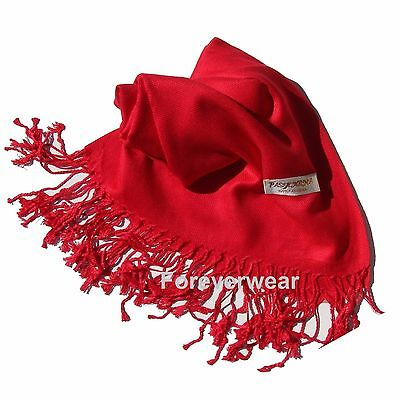 NEW Women Solid 100%Pashmina Wrap Stole Cashmere Wool Shawl/Scarf Soft Red #707
