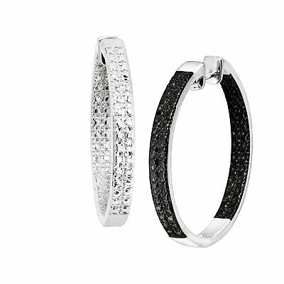 1/4 ct Black Diamond Front-Back Hoops in Rhodium-Plated Bronze