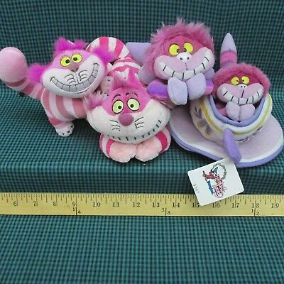 Cheshire Cat Plush Lot Of 4 Alice in Wonderland Stuffed Toys & Bean Bags Tea Cup