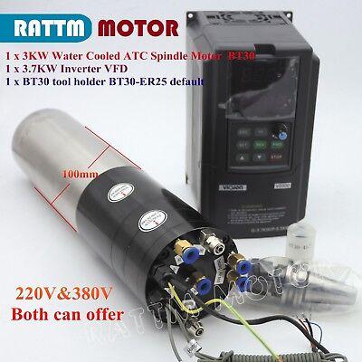 Cnc 3kw 220v380v Atc Water Cooled Spindle Motor Bt30 24000rpm W 3.7kw Inverter