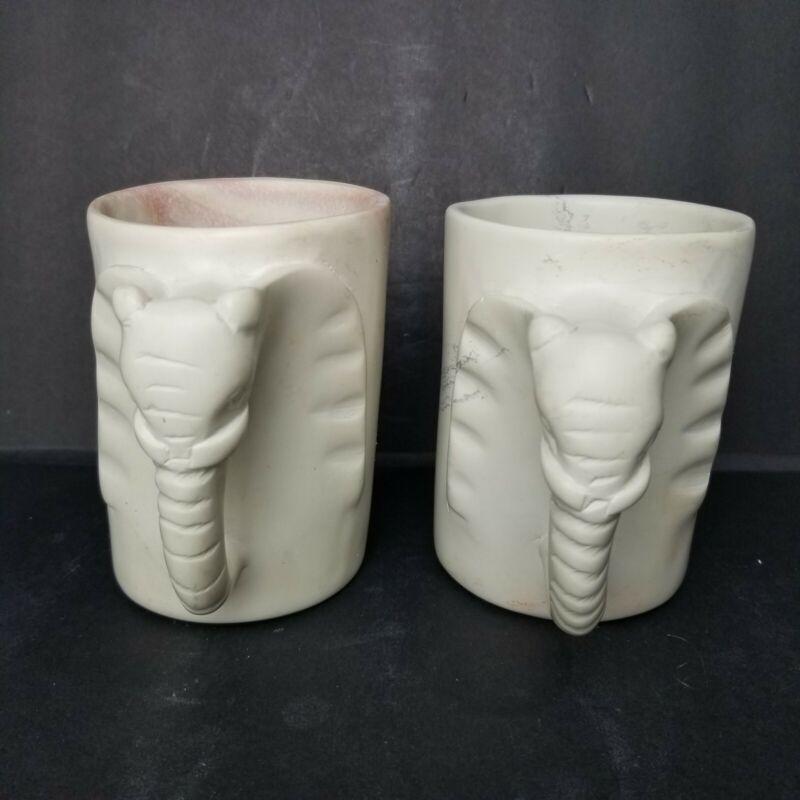 Hand Carved Stone Elephant Mugs Kenya Set of 2