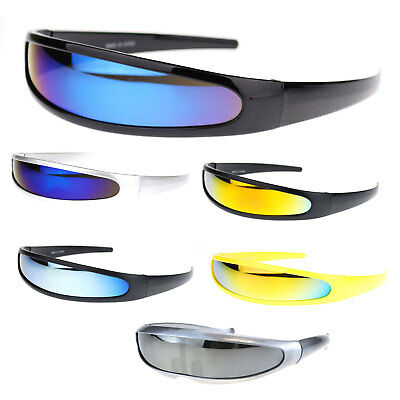 Color Mirror Lens Monolens Cyclops Robotic Futuristic Narrow Punk Sunglasses (Cyclops Shades)