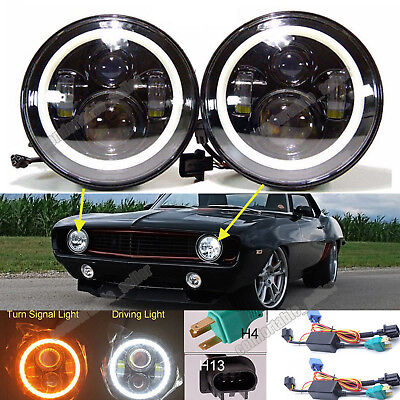 "For Chevrolet Chevy Camaro 7"" LED Halo Angel Eyes Headlight H4 To H13 H6024 Lamp"