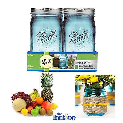 Wide Mouth Quart Jars Blue Mason Canning Jar Elite Collection 4 Pack 32 Oz Glass