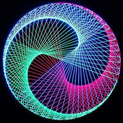 Stringart UV Deko - Goa Psy Trance Party - Schwarzlicht Fadenkunst - Kreis D3