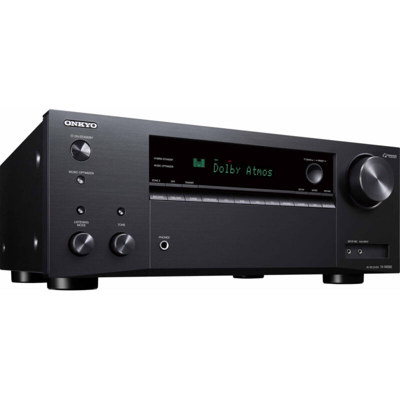 Onkyo TX 7.2-Ch. Hi-Res 4K HDR Compatible A/V Home Theater Receiver Black TX-NR585