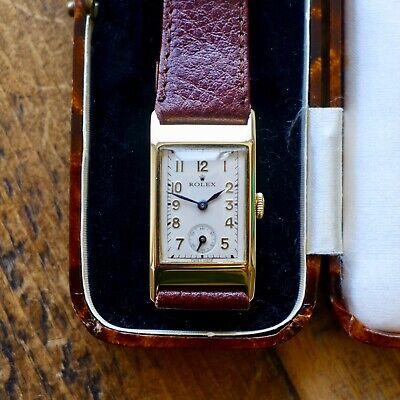 A STUNNING GENTS VINTAGE 1936 9ct GOLD RECTANGULAR ROLEX WRISTWATCH