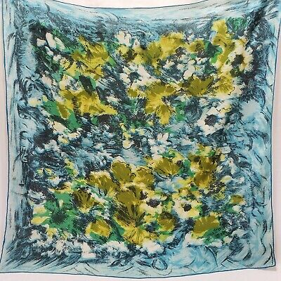 Vintage Scarf Styles -1920s to 1960s Vintage Silk Scarf Abstract Blue Yellow Print Mod Pop Art Hand Rolled 31