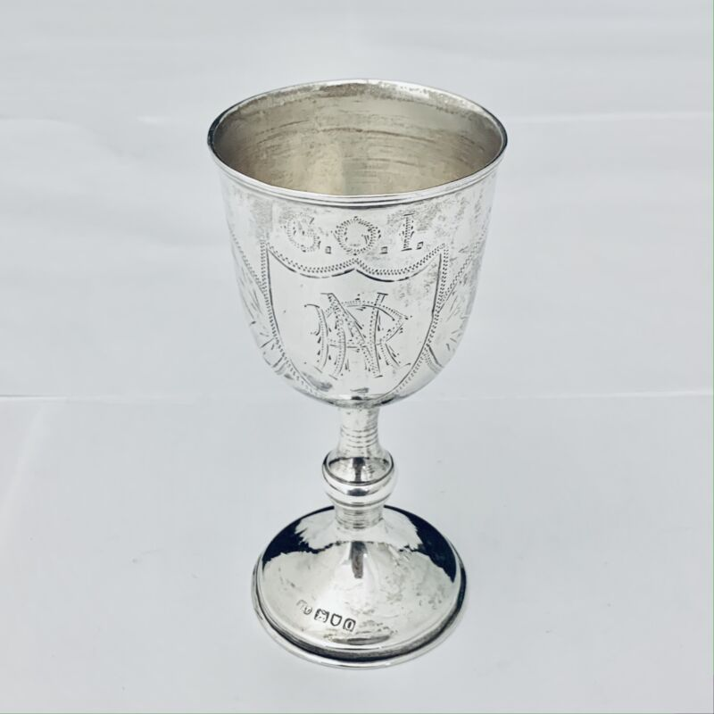 RARE ANITIQUE 1909 LONDON  STERLING  SILVER GOBLET - CUP