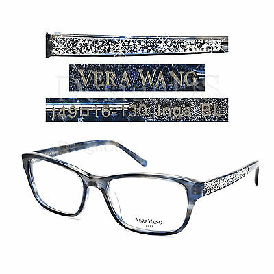 VERA WANG LUXE Inga BL Crystal Blue Eyeglasses 49/16/130 Rx - Authentic New