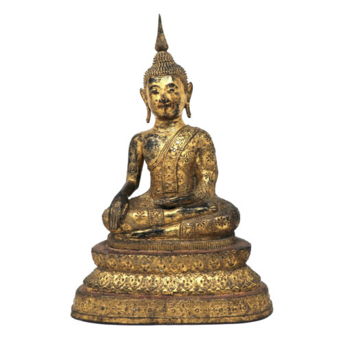Antique Thai Gilt Bronze Seated Buddha Figure