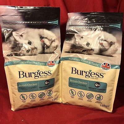 2 x Burgess Dry Mother Kitten Cat Food Chicken GROWTH SUPPORT Bone Teeth Immune