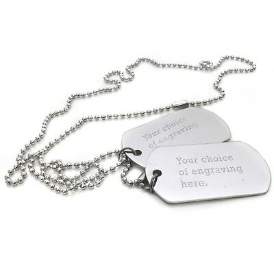 Men's Personalised Engraved Dog Tags Text Steel Army Militar