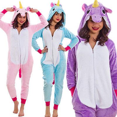 Schlafanzug Frau Kunstpelz Kigurumi Einteiler Einhorn Kostüm Karneval - Einteiler Schlafanzug Kostüm