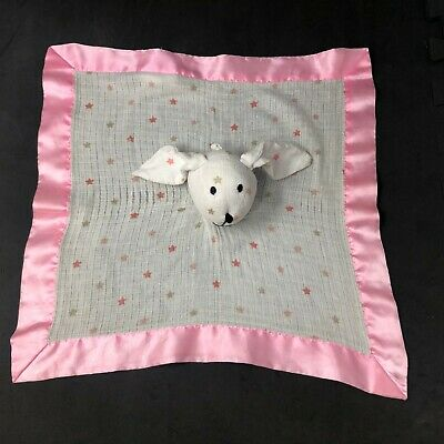 Aden Anais Bunny Star Lovey White Muslin Pink Satin Trim Baby Security Blanket