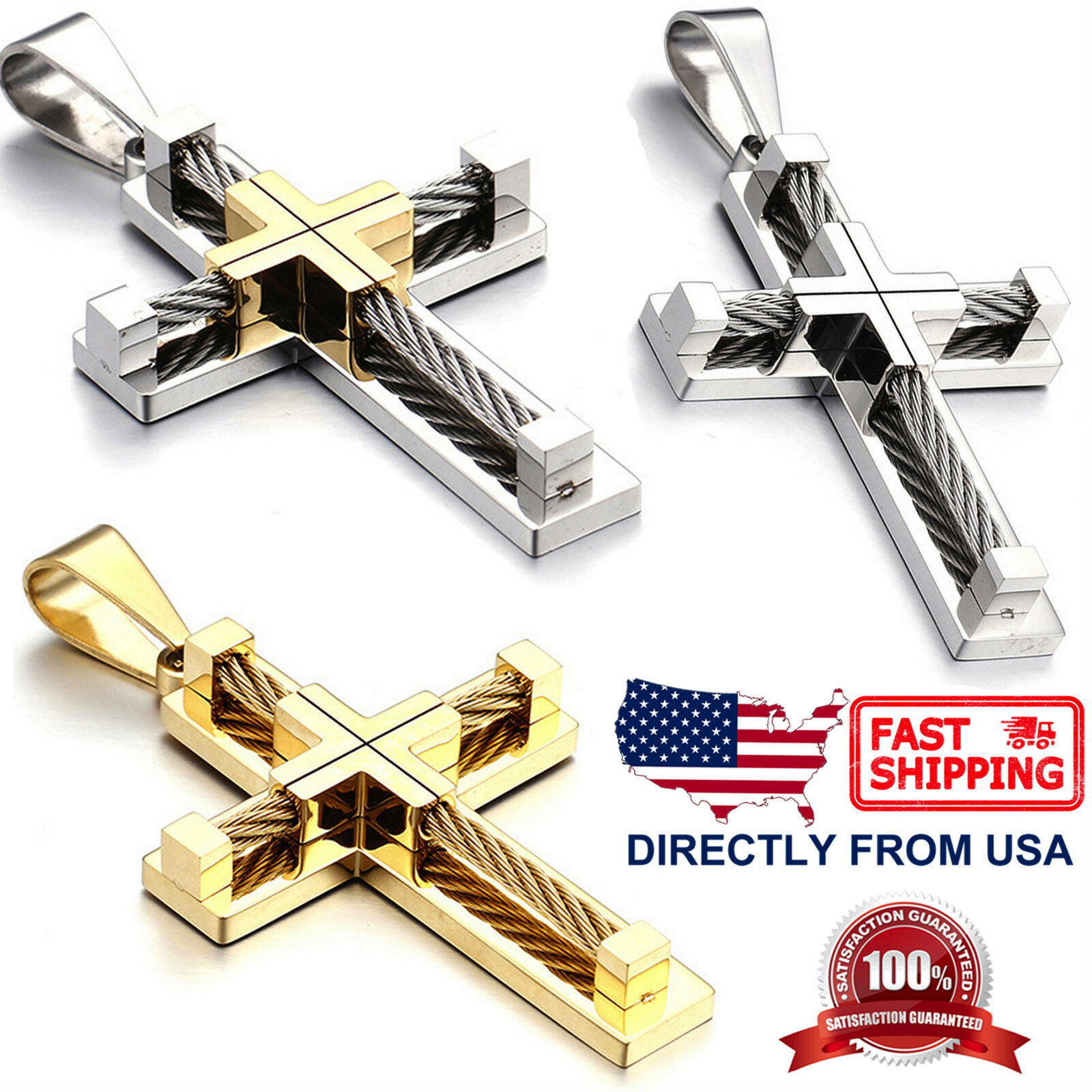 Men's Large Stainless Steel Cable Wire Layered Cross Pendant Necklace Chains, Necklaces & Pendants