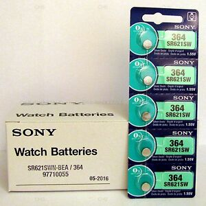 5 NEW SONY 364 SR621SW SR621 V364 LR621 SR60 Watch Battery