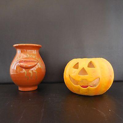 Duo céramique terre cuite vase citrouille Halloween art-déco PN Ecritures