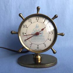 Art Deco Brass Ships Wheel Desk Clock Advertising THE PILOT Life Insurance Co.