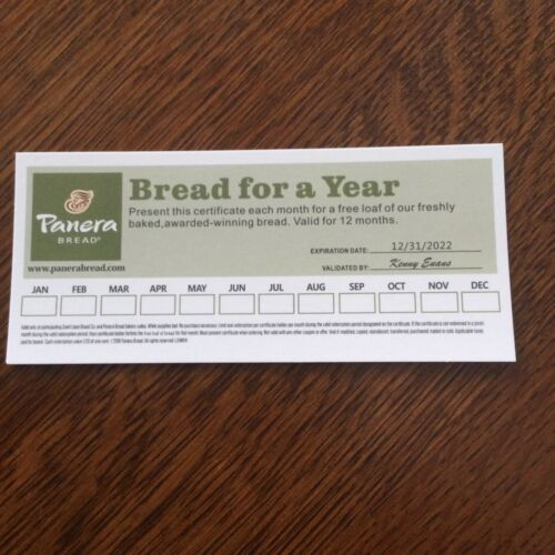 PANERA BREAD Gift Certificate / Gift Card Free Loaf of Bread Monthly For 1 Year