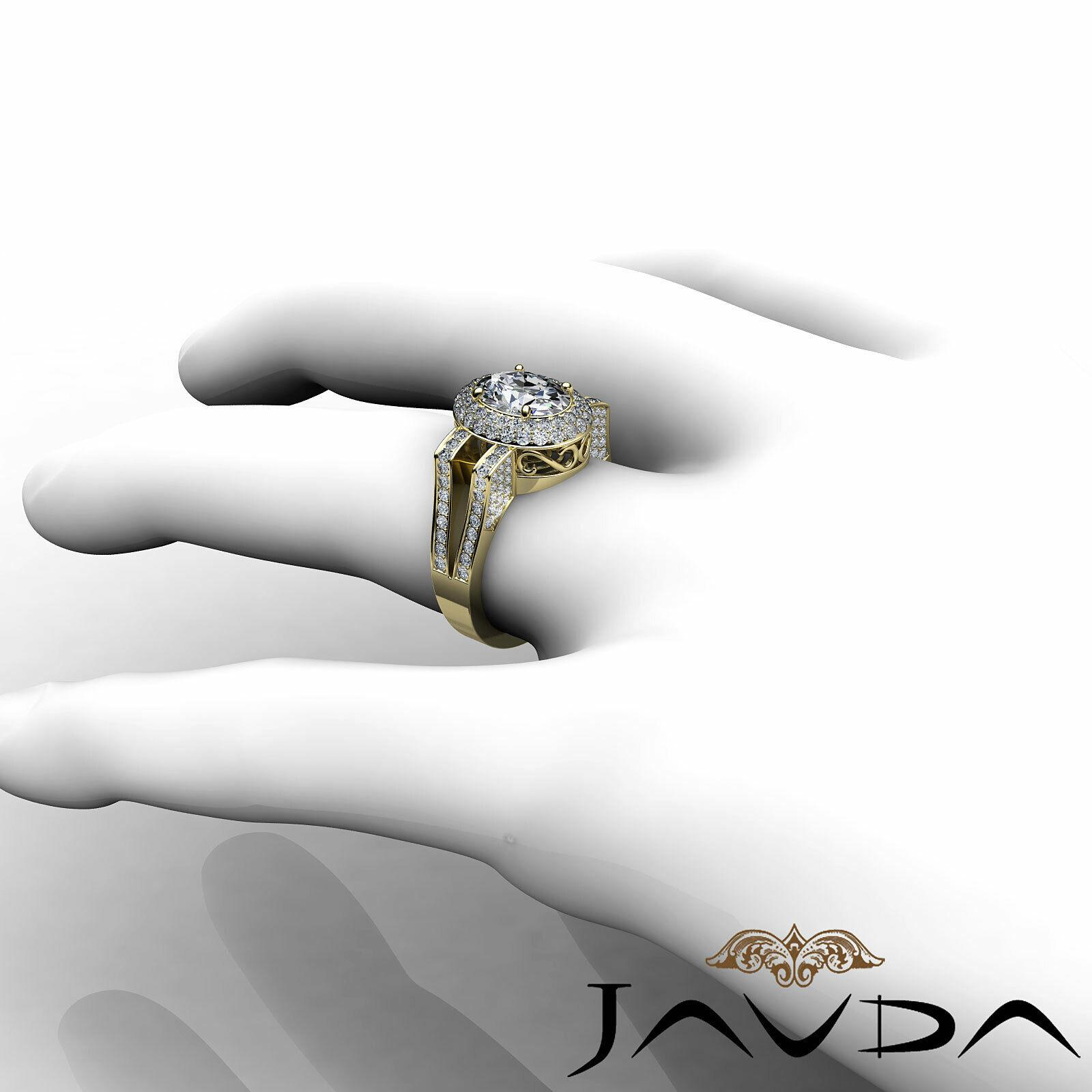1.9ctw Gala Halo Split Shank Oval Diamond Engagement Ring GIA E-VS2 White Gold 11