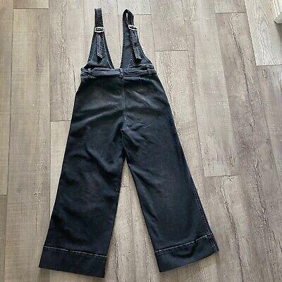 Vintage Overalls & Jumpsuits FREE PEOPLE Size 6 Cropped Wide Leg Denim A-Line Overalls Black $30.00 AT vintagedancer.com