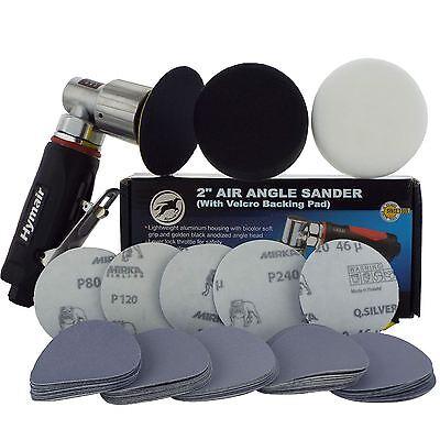 "75mm (3"") Mini Air Sander/Polisher Kit 50 Sanding Discs + Polishing & Foam Heads"