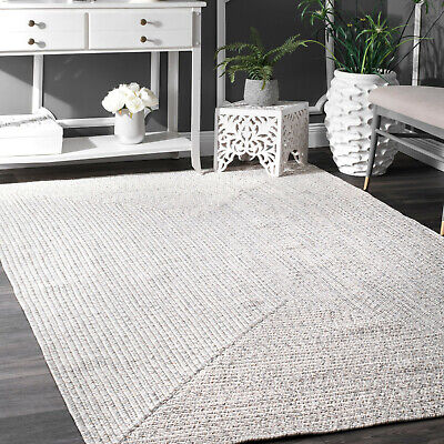 Braided Area Rug Indoor Outdoor Carpet Jute Mats Solid Ivory Patio Living Rugs ()