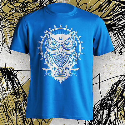 Owl  2 Tee T Shirt Cool Hipster All Seeing Eye Illuminati