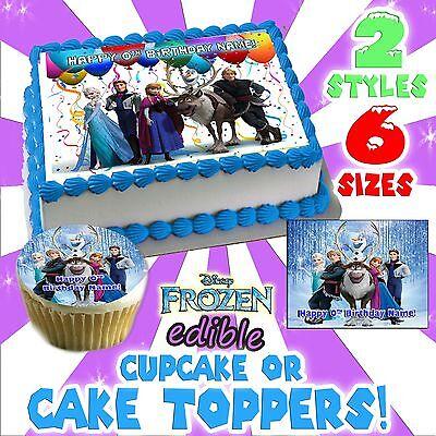 Disney's Frozen Birthday Cake topper Edible image sugar cupcake decal transfer - Frozen Birthday Cake Topper