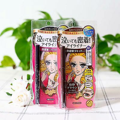 2Pcs Kiss Me Heroine Make liquid eyeliner Waterproof 0.1mm Black and Brown