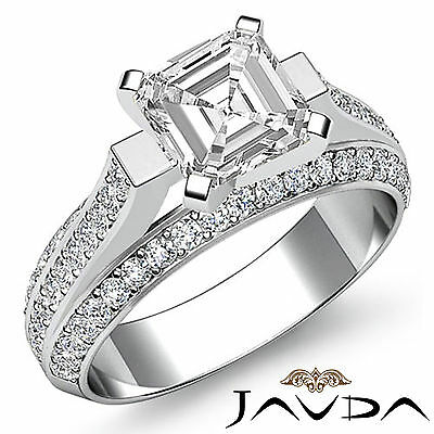 Classy Asscher Diamond Pave Engagement Ring GIA I Color VS2 14k White Gold 2.4ct
