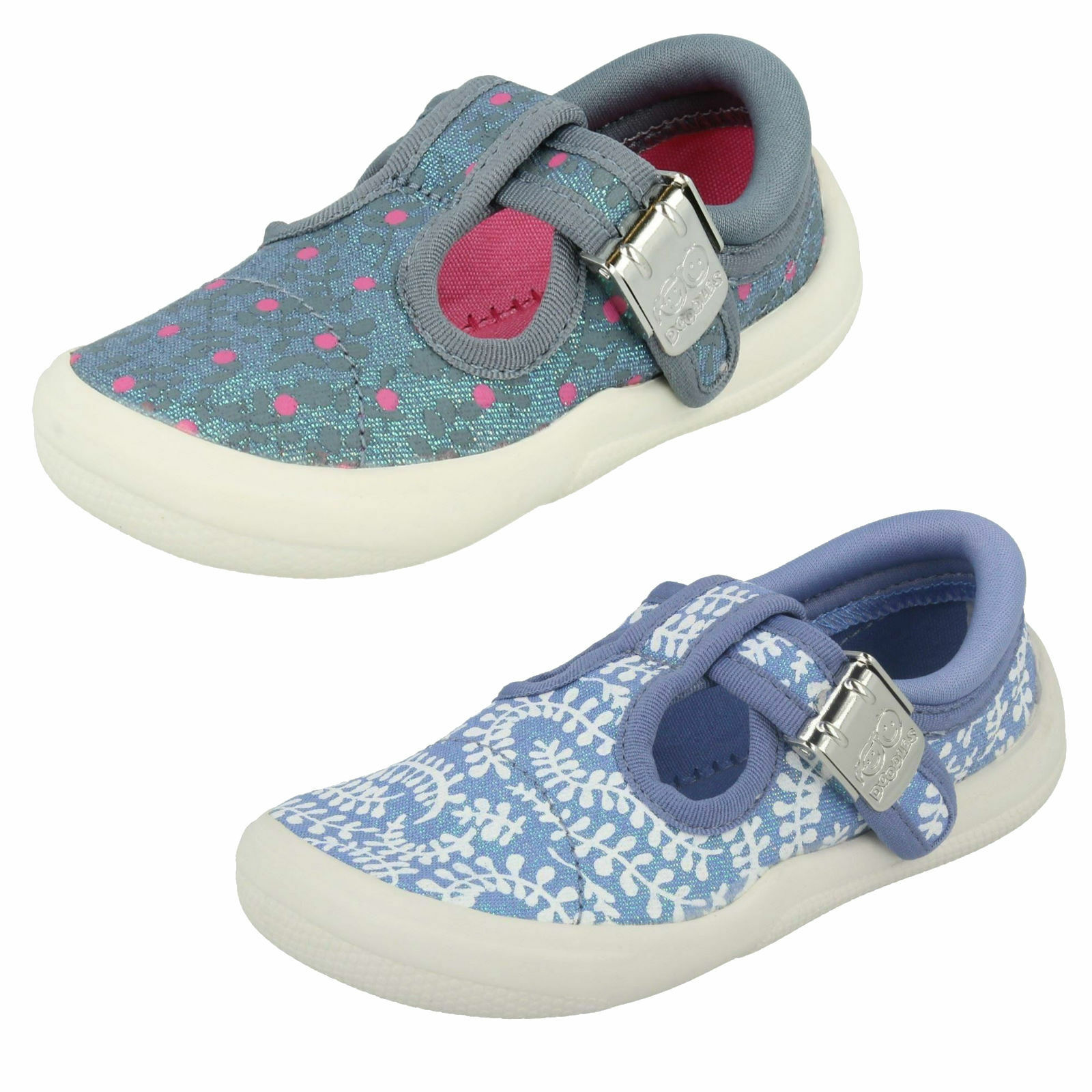 Girls Clarks Canvas Shoes - Briley Bow FST