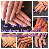 Shellac Nails $14 & Gel Nails $35