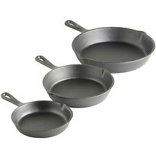 VonShef 3 Piece Skillet Pan Set Black Pre-Seasoned Cast Iron Frying Fry