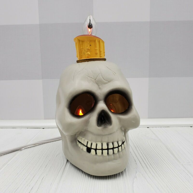 Vintage Gemmy Halloween Factory Skull Candle Lighted Table Decoration